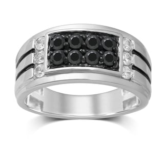 Unending Love 10k White and Treated Black Gold 1-Carat (IJ I2-I3) Diamond Gentleman's Ring