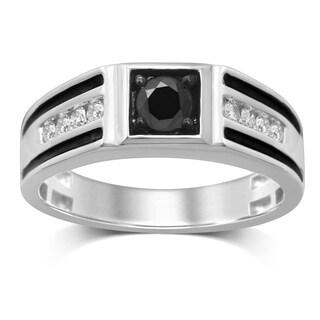 Unending Love 10K Gold White and Black Diamond Gent Ring
