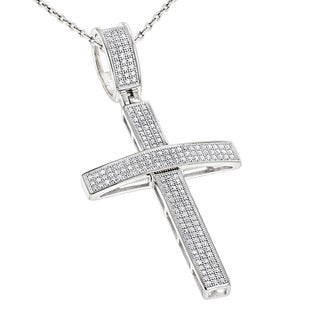 Luxurman 10k White Gold .5ct TDW Round Pave Diamond Cross Pendant Necklace (H-I; SI2-I3)