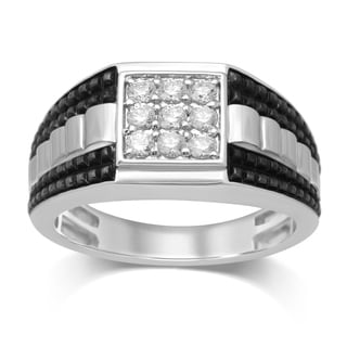 Unending Love 10k White Gold 1/2 Carat TW Diamond (IJ I2-I3) Square Top Gentleman's Ring