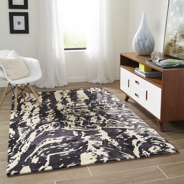 "Momeni New Wave Charcoal Hand-Tufted and Hand-Carved Wool Rug - 7'6"" x 9'6"""