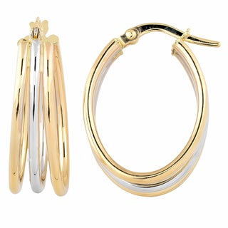 Fremada Italian 14k Two-tone Gold High Polish Triple Oval Hoop Earrings