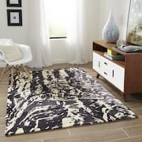Momeni New Wave Charcoal Hand-Tufted and Hand-Carved Wool Rug - 5'3 x 8'