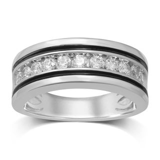 Unending Love 10k White Gold Diamond Men's Wedding Band