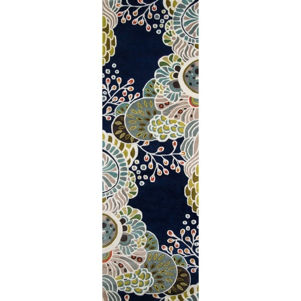 Shop Momeni New Wave Navy Hand Tufted And Hand Carved Wool