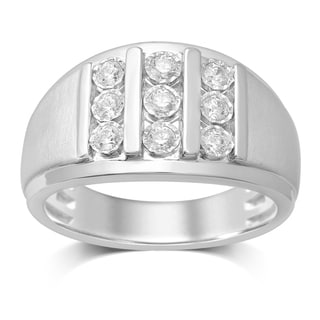 Unending Love 10k White Gold 1/2ct TDW Diamond Vertical Row Ring