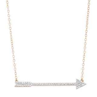 Sterling Silver 1/6ct TDW Diamond Arrow 17-inch Necklace