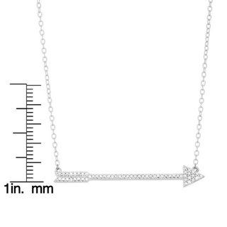 Sterling Silver 1/6ct TDW Diamond Arrow 17-inch Necklace (H-I, I2-I3)