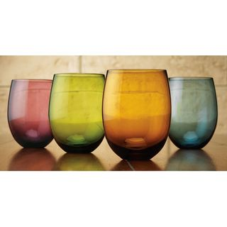 Tuscana Assorted Color 14-ounce Stemless Wine Glasses (Pack of 4)
