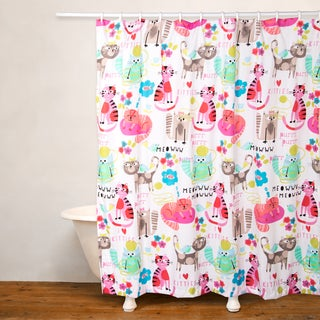 Crayola Purrty Cat No Liner Shower Curtain