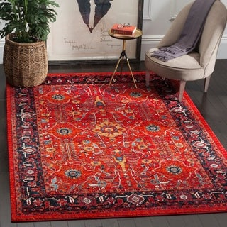 Safavieh Vintage Hamadan Traditional Orange/ Navy Distressed Rug (7' x 10')