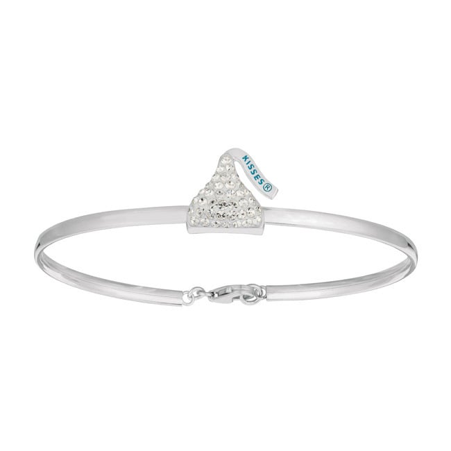 Sterling Silver Women's Hershey Kiss Bangle Bracelet (Whi...
