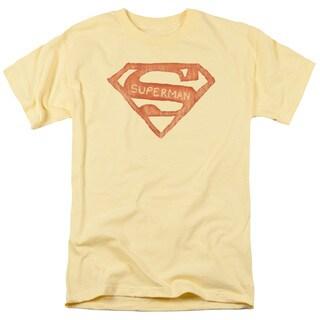 Superman/Roughen Shield Short Sleeve Adult T-Shirt 18/1 in Banana