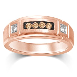 Unending Love 10k Rose Gold White and Brown Diamond ( I-J Color, I1-I2 Clarity ) Ring - Pink