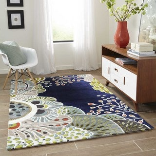 Momeni New Wave Navy Hand-Tufted and Hand-Carved Wool Rug (5'3 X 8')