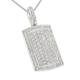Luxurman Sterling Silver .55ct TDW Diamond Small Dog Tag Pendant Necklace (H-I; SI2-I3)