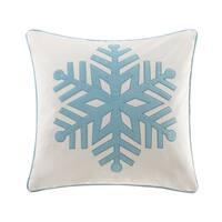 Madison Park Velvet Snowflake Ivory Square Pillow 20-inch