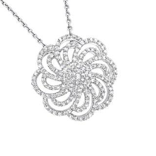 Luxurman 14k Gold 1/2ct TDW Diamond Swirl Flower Pendant Necklace (H-I; SI2-I3)