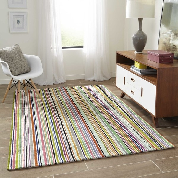 Momeni New Wave Multicolor Hand-Tufted and Hand-Carved Wool Rug - Multi - 8' x 11'