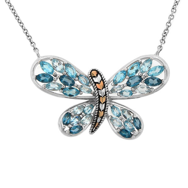 meredith leigh ss 14ky multi color blue topaz butterfly