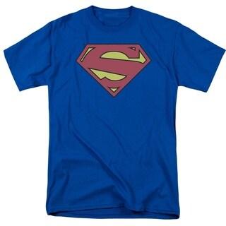 Superman/New 52 Shield Short Sleeve Adult T-Shirt 18/1 in Royal