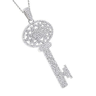 Luxurman 14k White Gold 1ct TDW Diamond Key Pendant Necklace (H-I; SI2-I3)