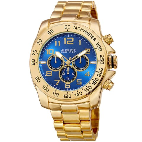 August Steiner Men's Swiss Quartz Multifunction Tachymeter Gold-Tone Bracelet Watch