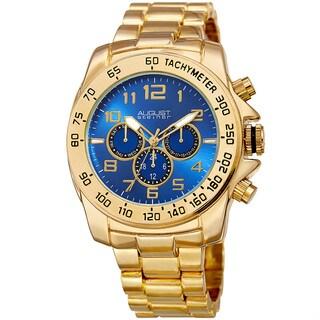 August Steiner Men's Swiss Quartz Multifunction Tachymeter Gold-Tone Bracelet Watch