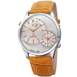 August Steiner Men's Swiss Quartz Multifunction Dual Time Tan Leather Strap Watch