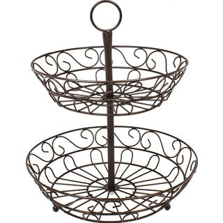 Sorbus Bronze Stainless Steel 2-tier Countertop Fruit Basket Holder and Decorative Bowl Stand