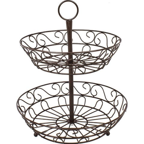 Sorbus 2-Tier Countertop Fruit Basket Holder & Decorative Bowl Stand