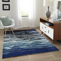 Momeni New Wave Grey Hand-Tufted and Hand-Carved Wool Rug