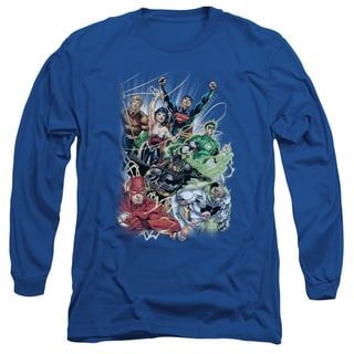 JLA/Justice League #1 Long Sleeve Adult T-Shirt 18/1 in Royal