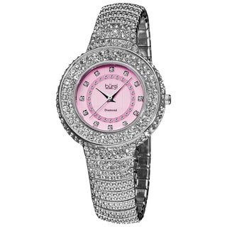 Burgi Women's Quartz Diamond Markers Crystal Silver-Tone Bracelet Watch