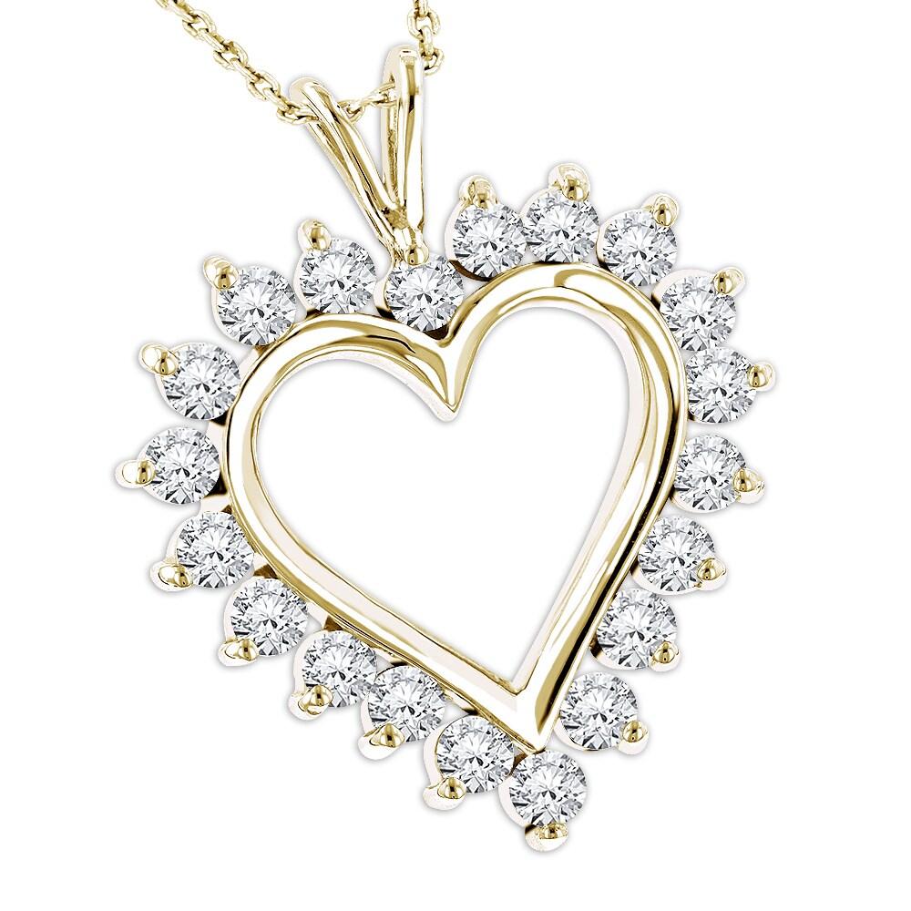 3a898401575a0 Luxurman 14k Gold Round Diamond Heart Pendant 1.40ct