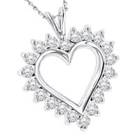 Luxurman 14k Gold Round Diamond Heart Pendant 1.40ct