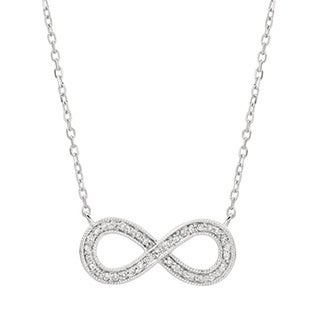 14KT White Gold 0.14ct Diamond Women's Infinity Necklace 18 inches