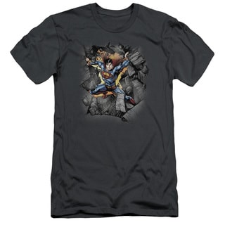 Superman/Break On Through Short Sleeve Adult T-Shirt 30/1 in Charcoal