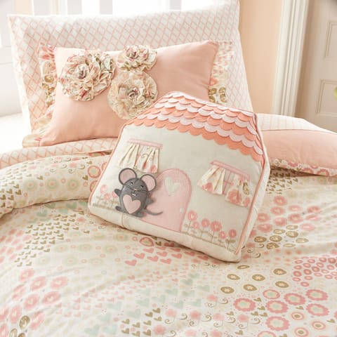 Asher Home Meadow Floral Ruffled Pink Pillow