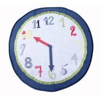 Preppy Plaid Round Clock Pillow