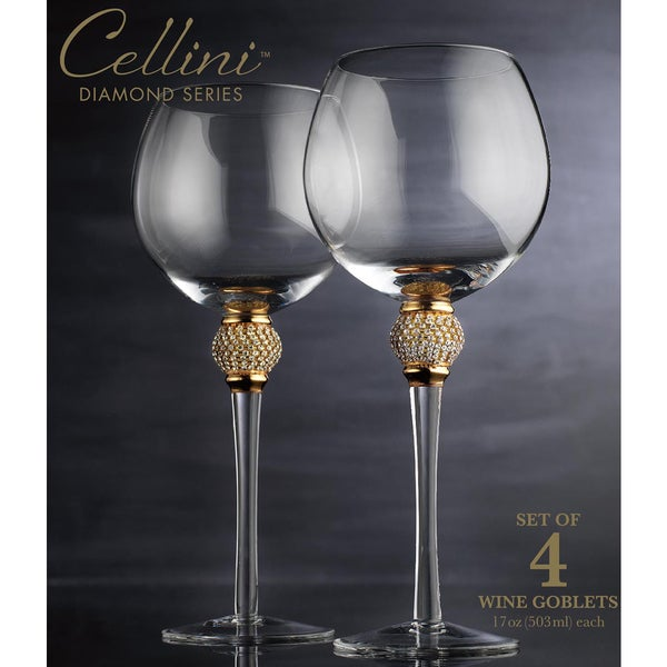 cellini wine goblets with crystals pack of 4