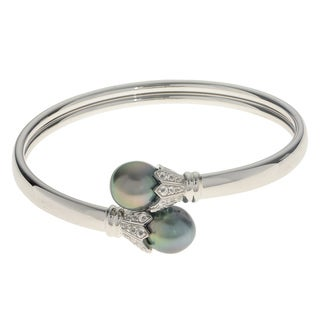 Pearls for You Sterling Silver Tahitian Pearl and White Topaz Bracelet - Pearl/White