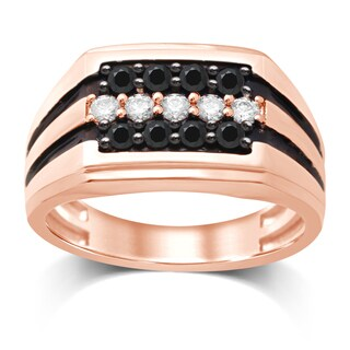 Unending Love 10KT Rose Gold White and Black Diamond ( I-J Color, I2-I3 Clarity ) Gents Ring - Pink (More options available)