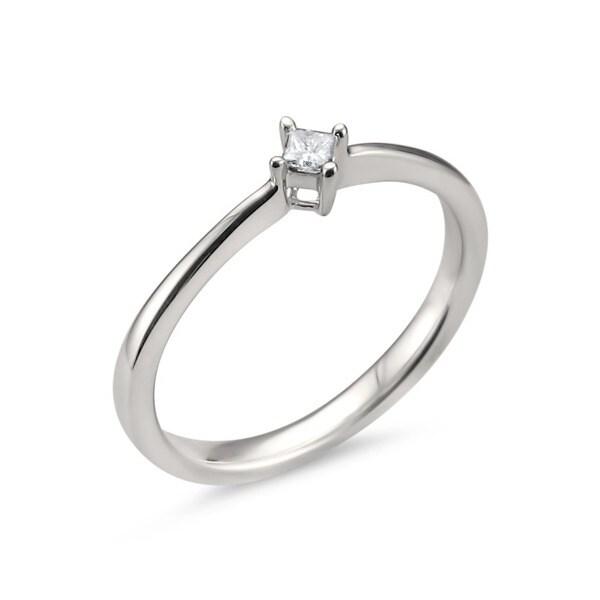 Montebello 14KT White Gold 0.07ct TDW White Diamond Dainty Ring