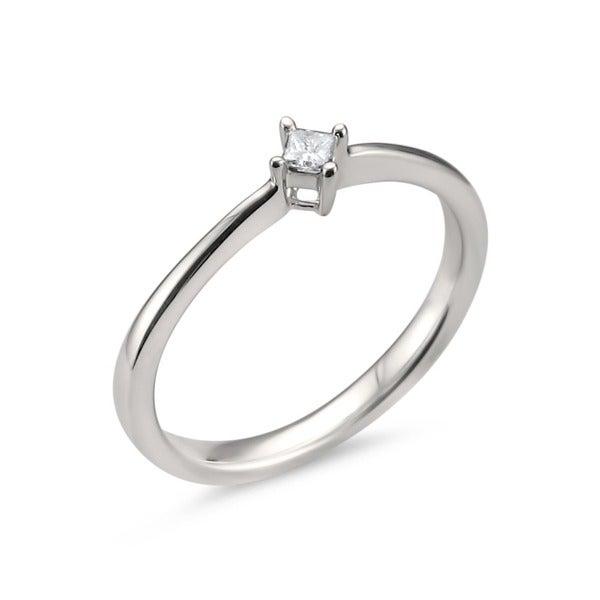 Montebello Jewelry 14k White Gold 0.07ct TDW Princess-cut White Diamond Dainty Ring