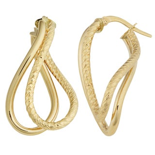 Fremada Italian 14k Yellow Gold High Polish and Diamond-cut Finished Twisted Double Hoop Earrings