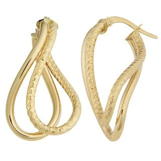Fremada Italian 14k Yellow Gold High Polish and Diamond-cut Finished Twisted Double Hoop Earrings