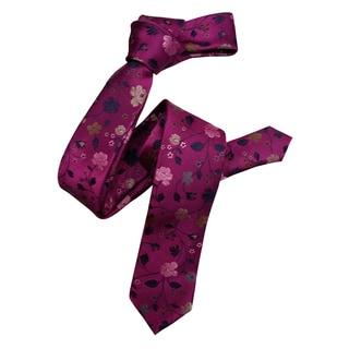 Dmitry Men's Pink Floral Italian Silk Skinny Tie