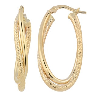 Fremada Italia 14k Yellow Gold High Polish and Diamond-cut Finished Overlapping Oval Hoop Earrings