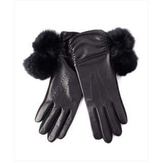 Echo Design Womens Touch Fur Pom Pom Black Leather Gloves|https://ak1.ostkcdn.com/images/products/12663186/P19450578.jpg?impolicy=medium